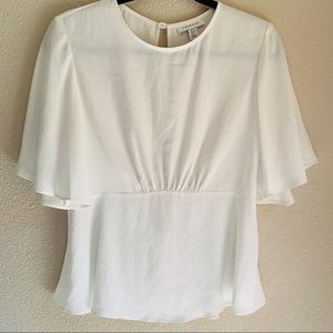 Topshop white peplum cutout top